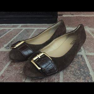 Michael Kors Brown Gold Buckle Shoes Flats 7.5